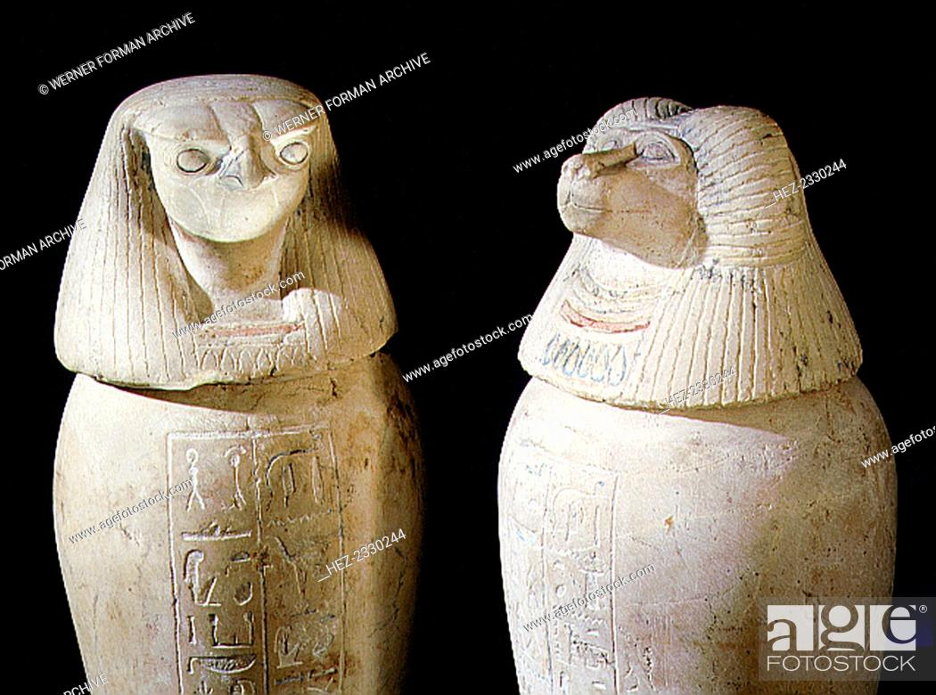 Stock Photo: Limestone canopic jars, Ancient Egyptian, 22nd dynasty, c850-825 BC. From Tanis. Two of a set of four canopic jars used to preserve the internal organs of.