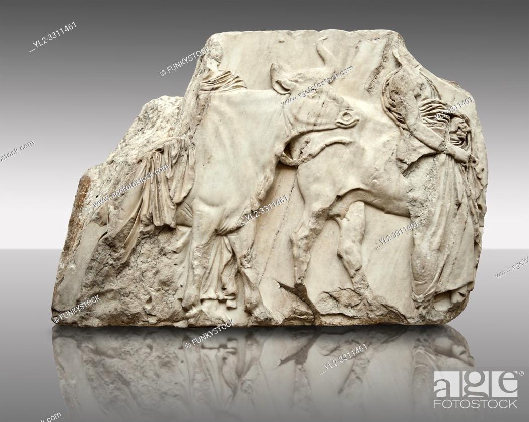 Stock Photo: Marble Releif Sculptures from the south frieze around the Parthenon Block XLVI 142-144. From the Parthenon of the Acropolis Athens.