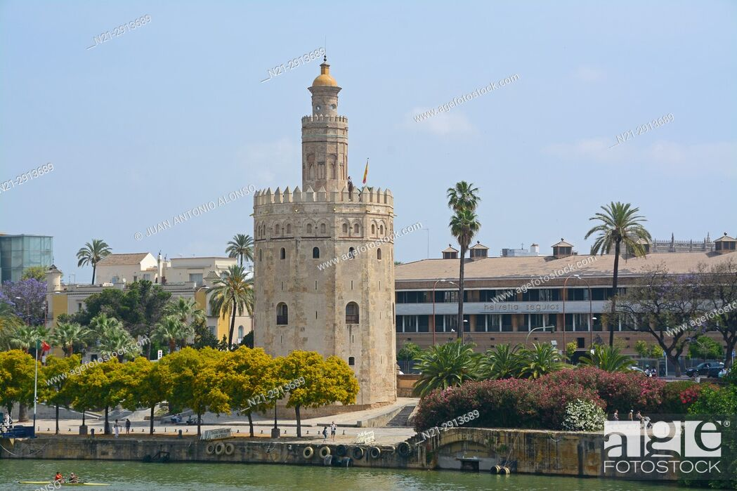 Stock Photo: Torre del Oro on the River Guadalquivir. Seville, Andalucia, Spain, Europe.