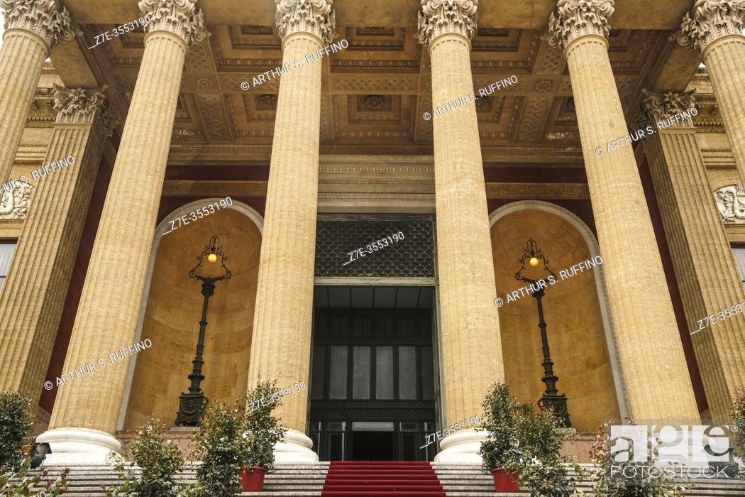 Stock Photo: Façade of Massimo Theater (Teatro Massimo). Portico supported by columns leading to main entrance. Palermo, Sicily, Italy. Europe.