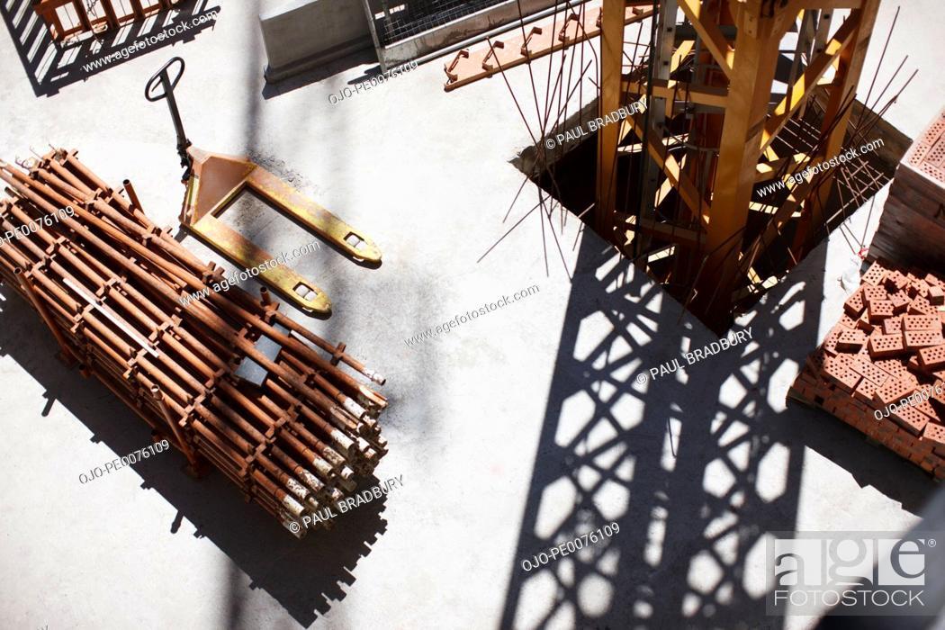 Stock Photo: Girders on construction site.