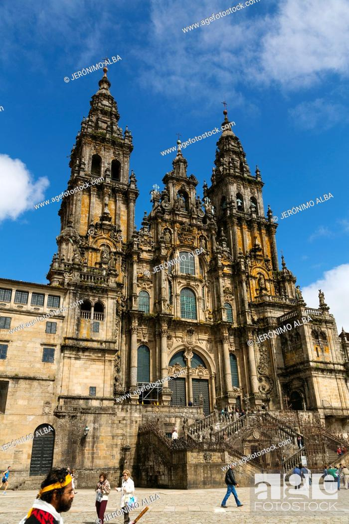 Stock Photo: Cathedral and Plaza del Obradoiro, World Heritage Site, Santiago de Compostela, Way of St James, A Coruña province, Galicia, Spain.