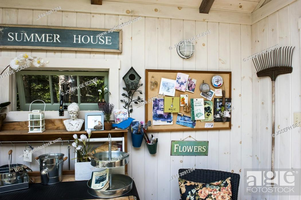 Stock Photo: The interior of a clean and organized garden shed.