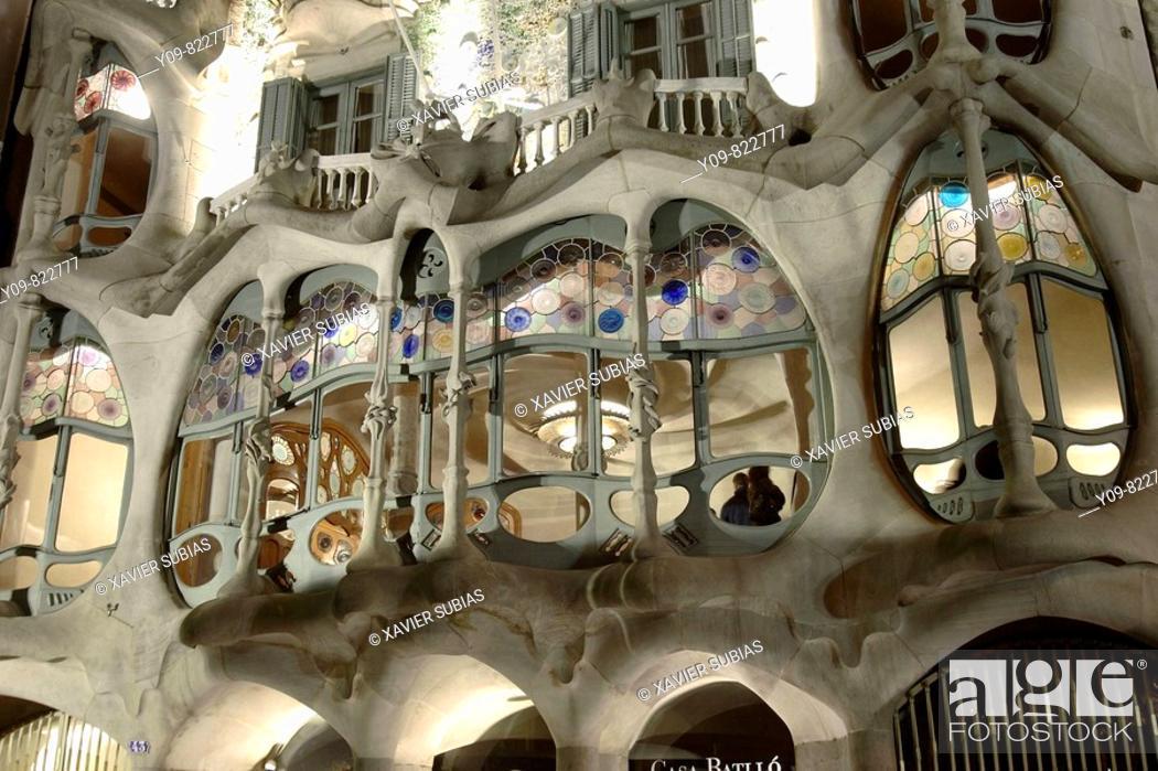Stock Photo: Batllo House (1904-06 by Gaudí), Barcelona. Catalonia, Spain.