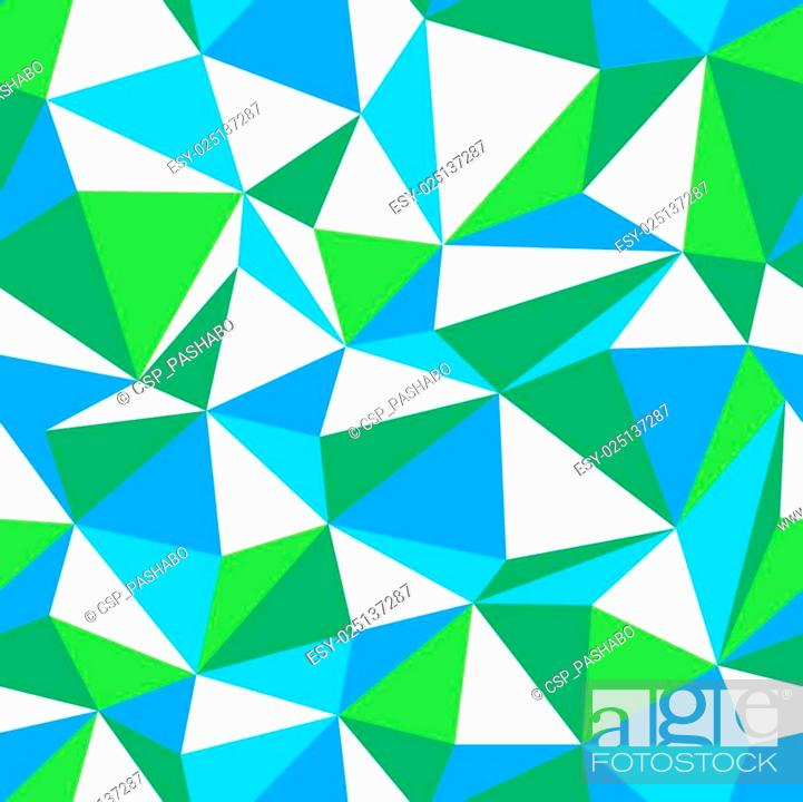 Stock Vector: Triangle seamless pattern. Green and Blue color themed.