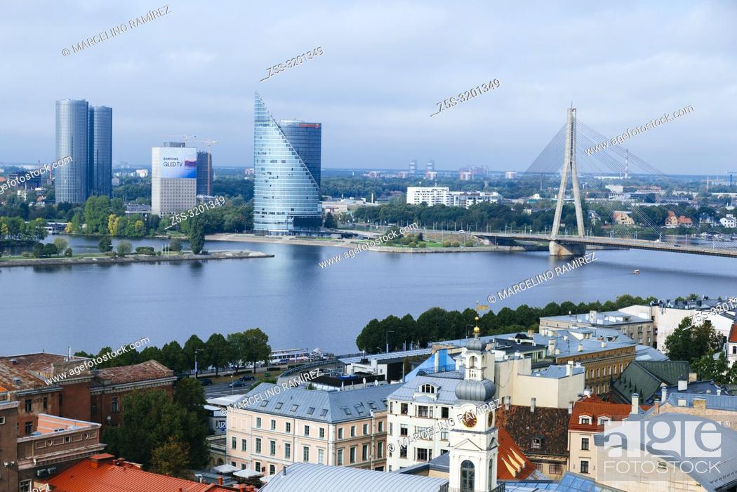 Stock Photo: Riga old town from St. Peter's Church. The two banks of river Daugava, Latvia, Baltic states, Europe.