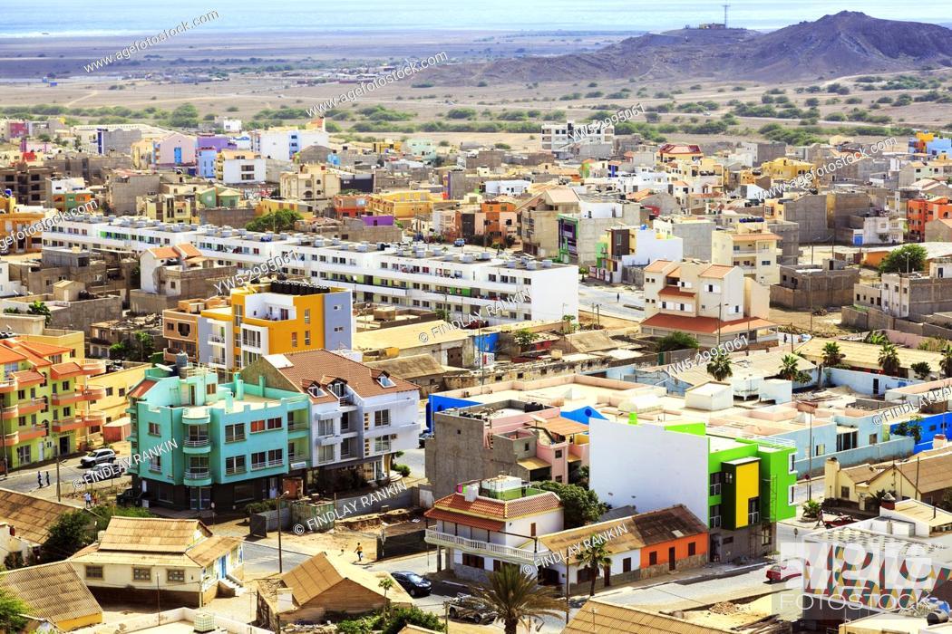 Stock Photo: High view eastwards over the capital city of Espargos towards Mirador, Cape Verde, Africa.