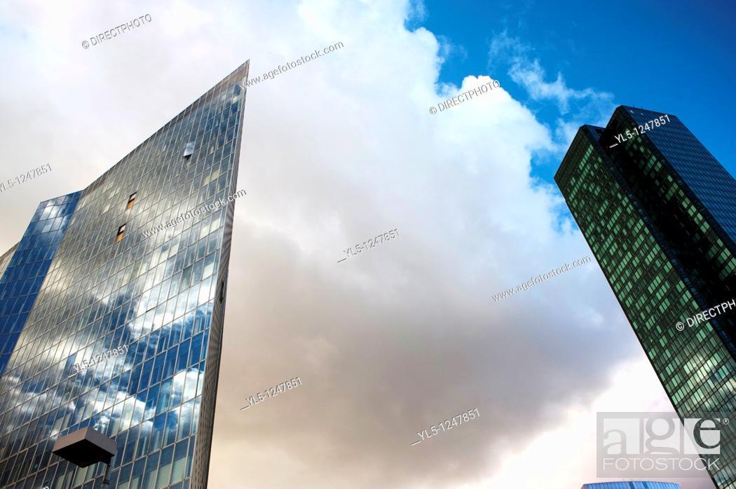 Stock Photo: Paris, France- Commercial Architecture, Corporate Headquarters Buildings, French Companies, La Défense Commercial Center.