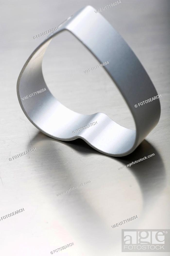 Stock Photo: Heart Shape, Heart-Shaped, Indoors, Metal, Mould.