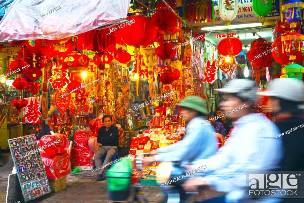Stock Photo: Hang Ma Street  Old City. Hanoi. Vietnam.
