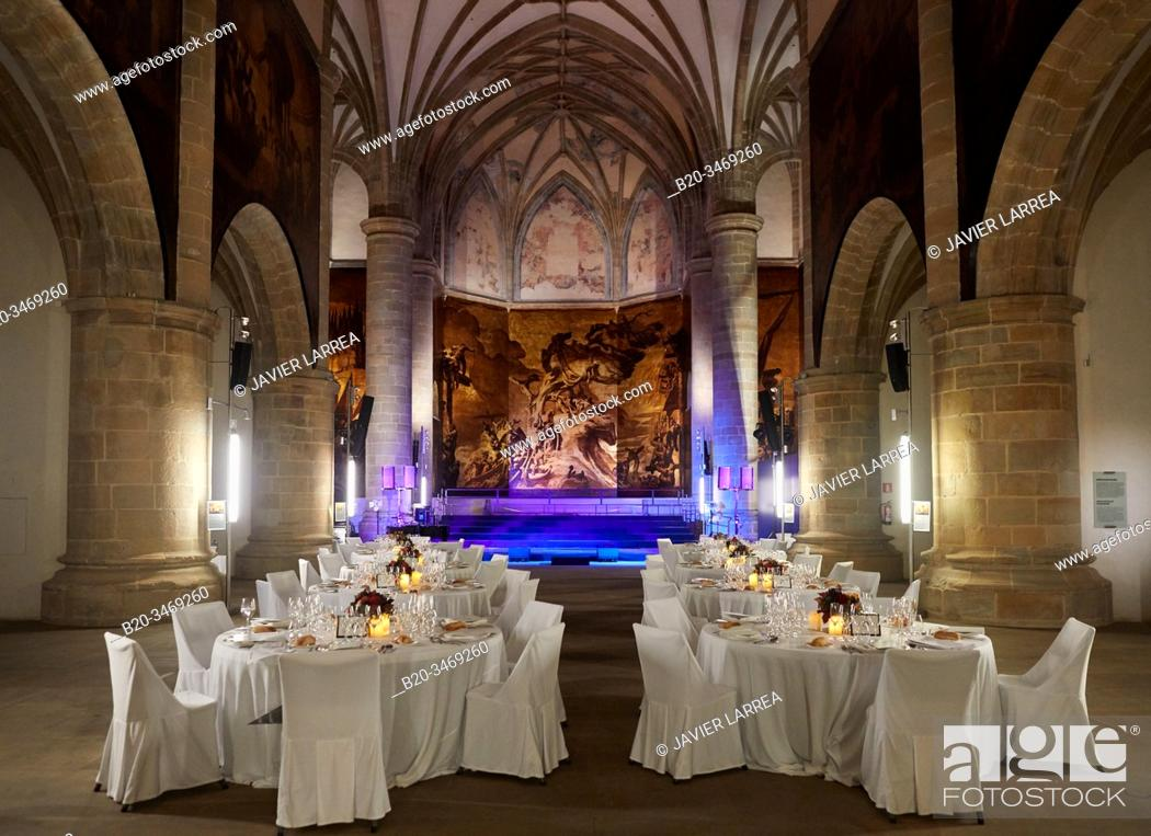 Stock Photo: Dining room installed for event in the church of former Dominican convent (16th century), San Telmo Museum, Donostia, San Sebastian, Gipuzkoa, Basque Country.