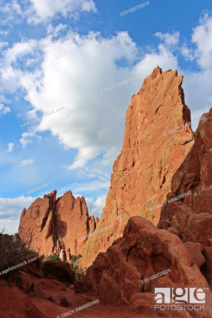 Stock Photo: Close up of a red rock pinnacle formations at the Garden of the Gods in Colorado Springs, Colorado, USA.