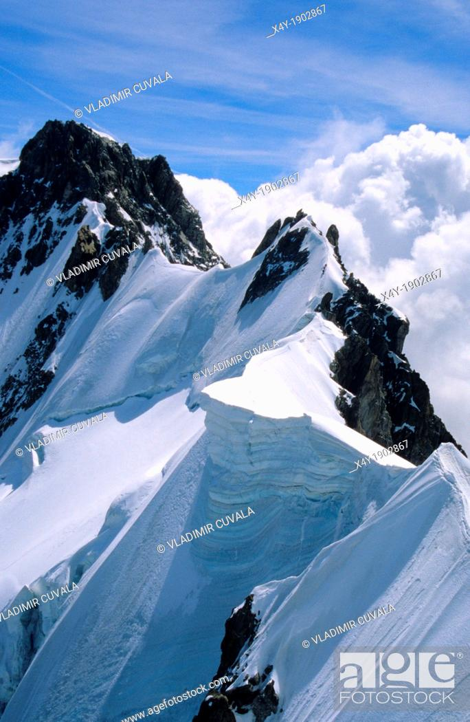 Stock Photo: The Rochefort ridge, Mont Blanc mountain massif, Savoy Alps, France.