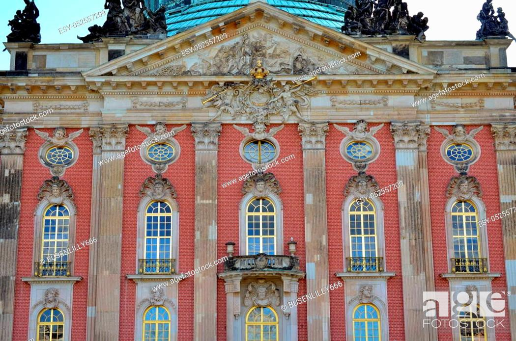Stock Photo: windows and facade of new palace at castle sanssouci, potsdam, germany.