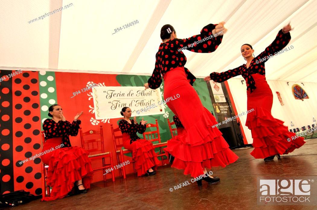 Stock Photo: Women dancing flamenco, April Fair, Barcelona. Catalonia, Spain.