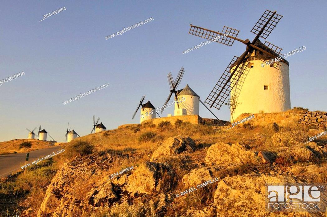 Stock Photo: Windmills, Consuegra. Toledo province, Castilla-La Mancha, Spain.