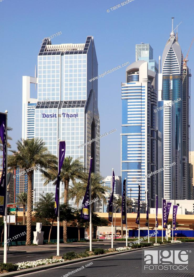 Stock Photo: United Arab Emirates, Dubai, Sheikh Zayed Road, Dusit Thani Hotel,.
