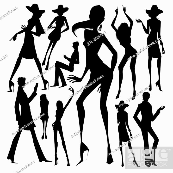 Stock Photo: Set of silhouette of the woman isolated on white background.