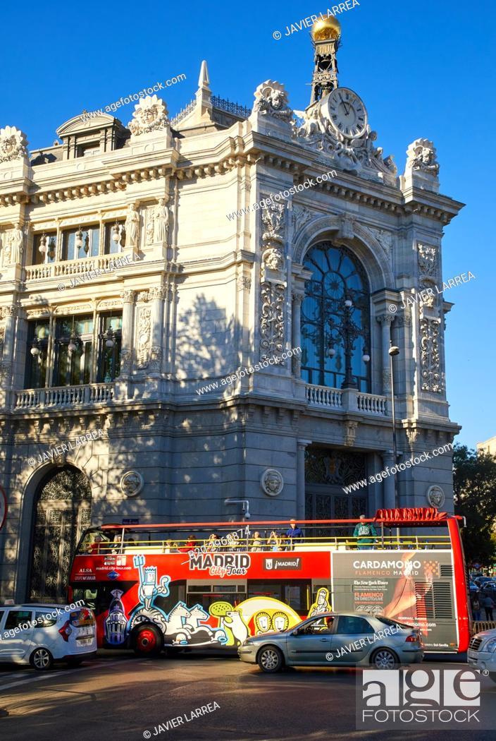Stock Photo: Banco de España, Plaza Cibeles, Madrid, Spain, Europe.