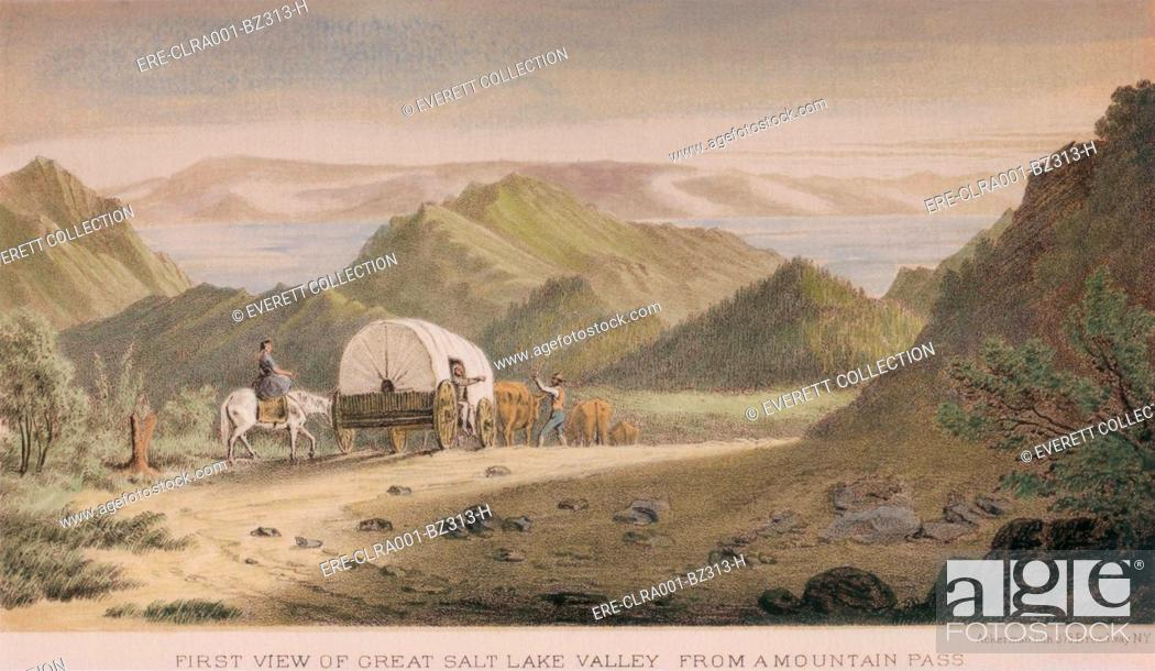 Stock Photo: First view of the Great Salt Lake Valley from a mountain pass. Emigrants arrive at their Utah destination in 1850, as depicted by the Army Survey of the lands.