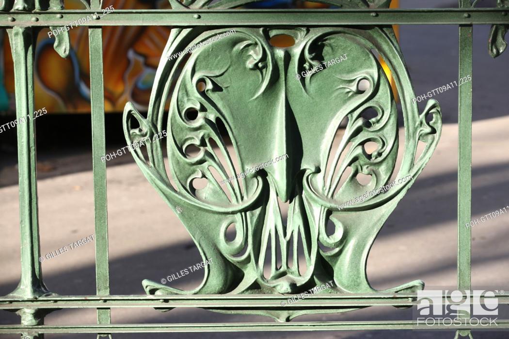 Stock Photo: tourism, France, paris 18th arrondissement, montmartre, abbesses metro station, hector guimard architect, art nouveau, ratp, paris public transportation service.
