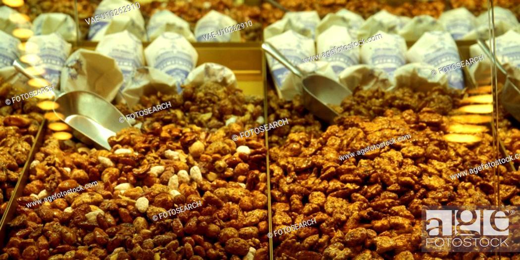 Stock Photo: Christian child, almonds, candy, calories, brown, christkindlmarkt, almond.