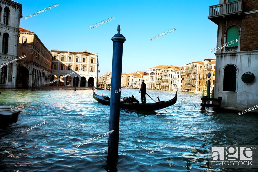 Stock Photo: Gondolas on Grand Canal, Venice, Veneto, Italy.