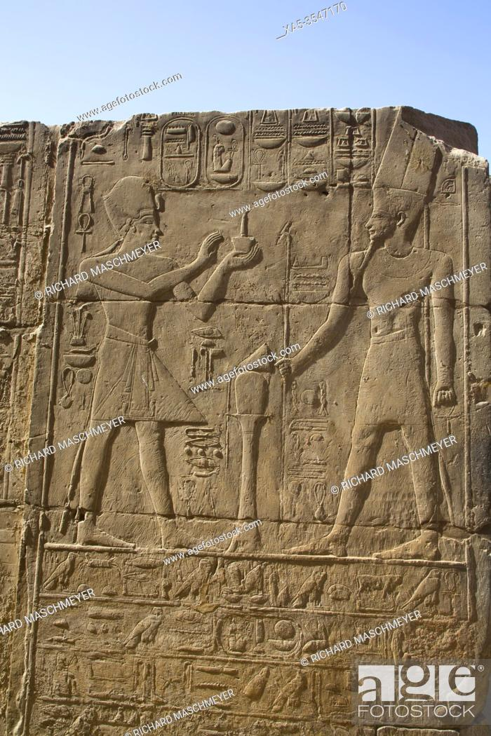 Stock Photo: Pharaoh (L), God Amun (R), Bas Relief, Luxor Temple, UNESCO World Heritage Site, Luxor, Egypt.