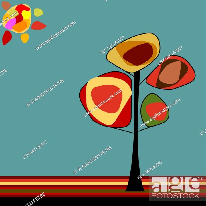 Stock Vector: tree under sun in the middle of the autumn.