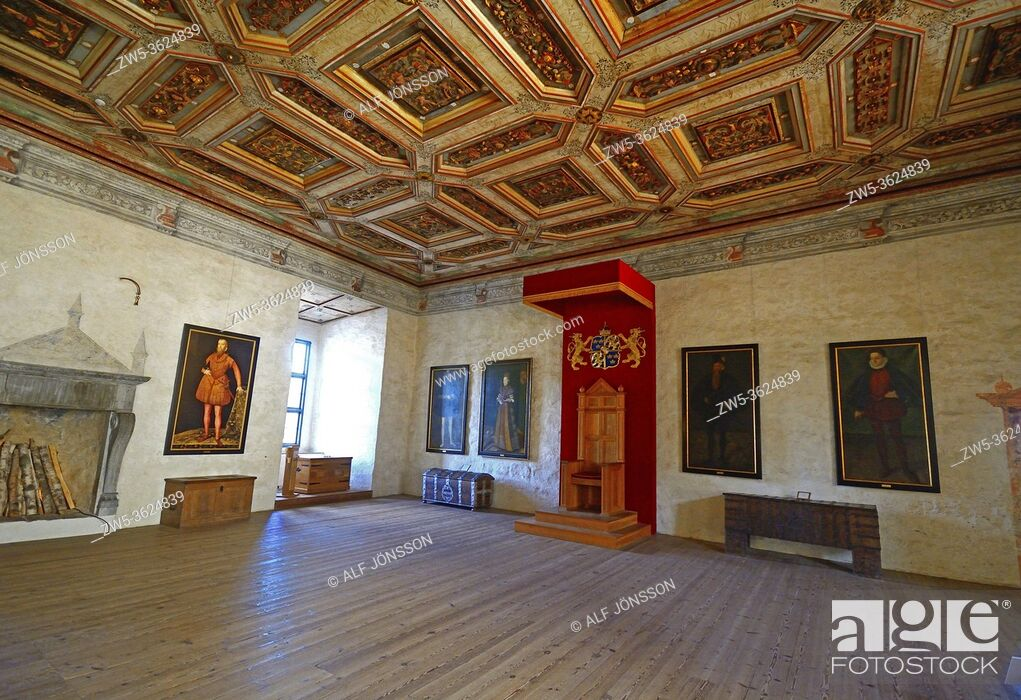 Stock Photo: Interior view in Kalmar castle, The Golden Hall, Kalmar, Småland county, Sweden, Scandinavia.