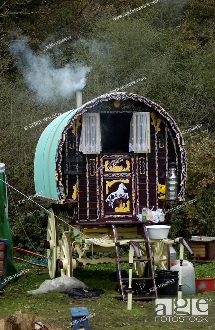 Stock Photo: The traditional Romany gypsy caravans of the Hoare family as they live off the land in rural Hampshire  They claim to take nothing from the State and to keep to.