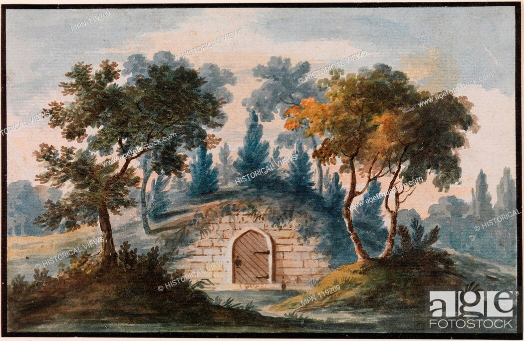 Stock Photo: General Washington's Tomb at Mount Vernon (Copy after Engraving in The Port Folio Magazine, 1810). Artist: Pavel Petrovich Svinin (1787/88-1839); Date: 1811-ca.