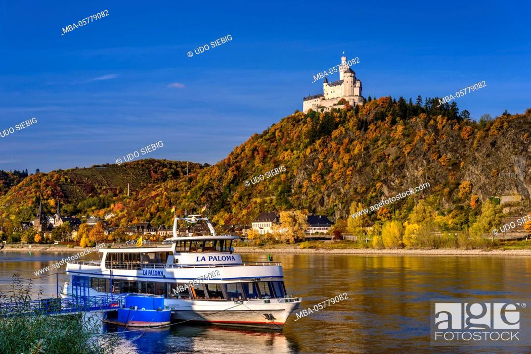 Stock Photo: Germany, Rhineland-Palatinate, upper Middle Rhine Valley, Braubach, the Rhine, townscape, Marksburg.