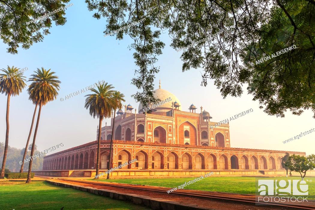 Stock Photo: Humayun's Tomb, India's famous place of visit, New Delhi.