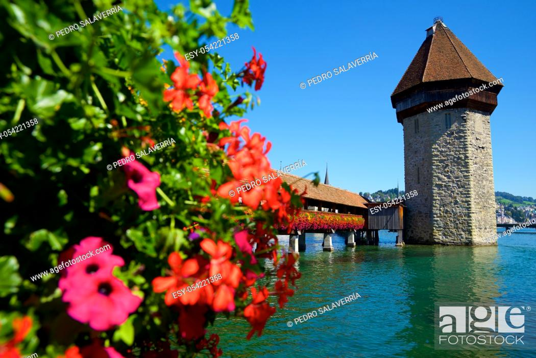 Stock Photo: Famous Chapel Bridge view in old town of Lucerne in Switzerland.