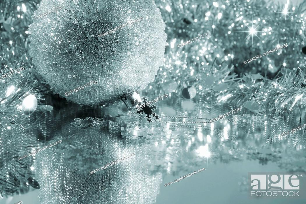 Stock Photo: Silver blue ice ball.