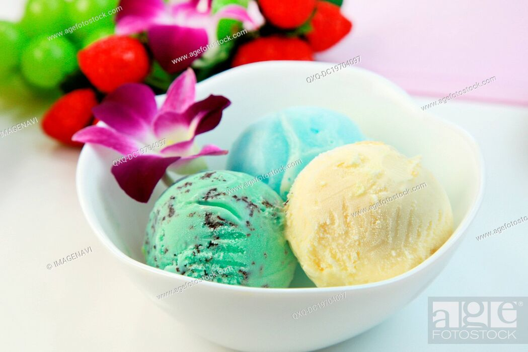 Stock Photo: Assorted ice creams.