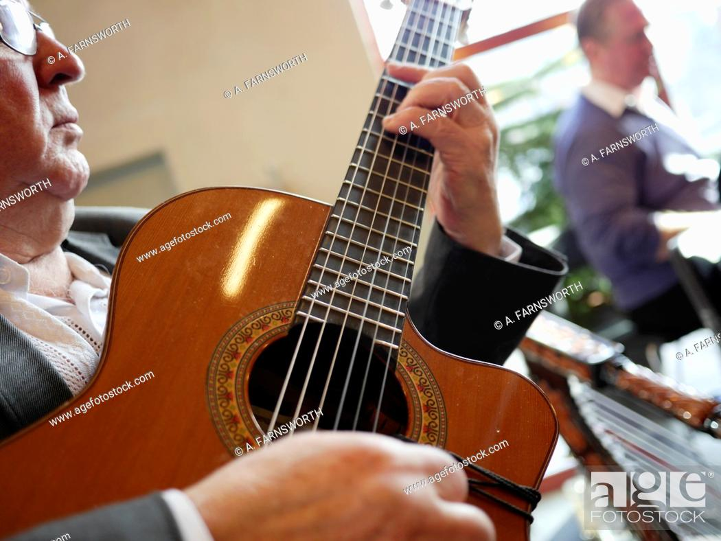 Stock Photo: Guitar player, Stockholm, Sweden.