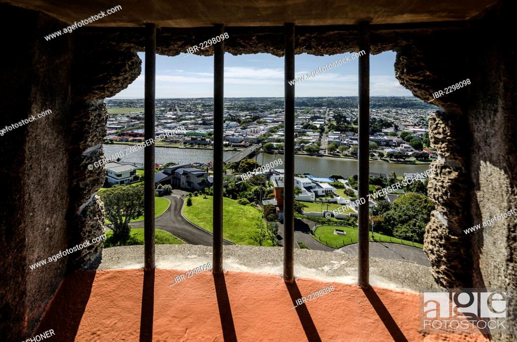 Stock Photo: View through a barred window, Durie Hill Memorial Tower, 34 meters high, Wanganui, North Island, New Zealand.