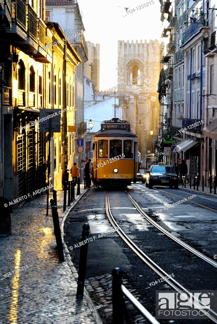 Stock Photo: Sunset in Alfama, Lisbon, Portugal.