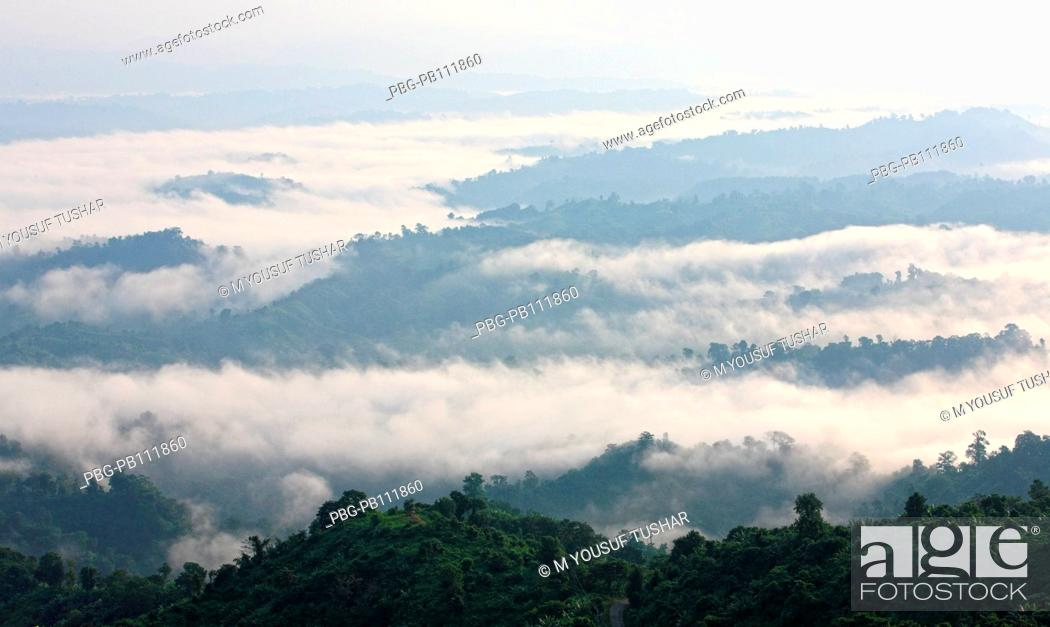 Stock Photo: Aerial view of clouds over the Nilgiri hill Bandarban, Bangladesh November 2010.