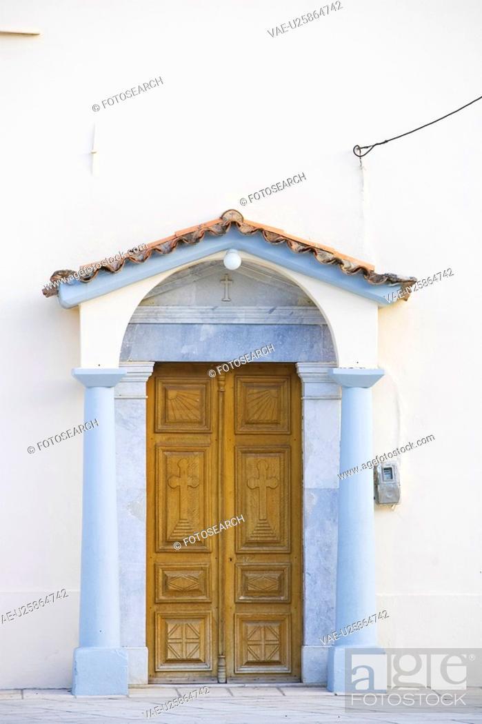 Stock Photo: Cross, Door, Design, Day, Art.