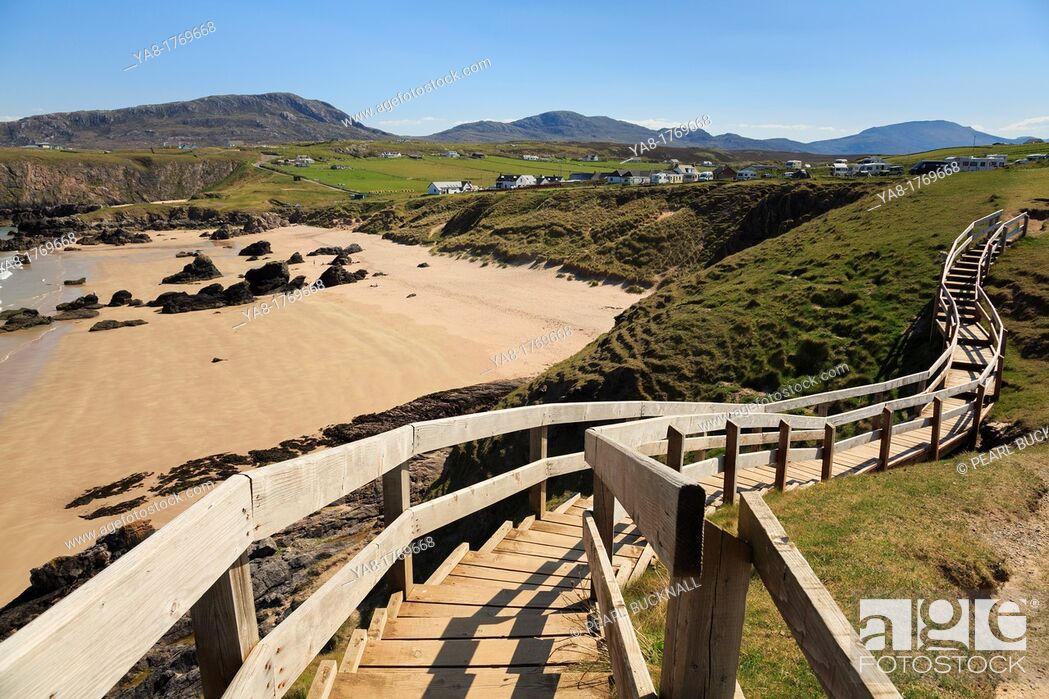 Stock Photo: Sango Bay, Durness, Sutherland, Highland, Scotland, UK, Britain, Europe  Wooden steps from viewpoint overlooking the beach of golden sands on Scottish north.