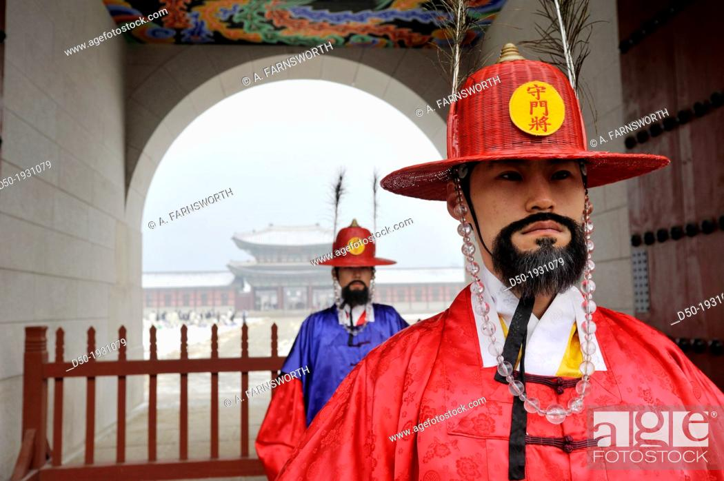 Stock Photo: SEOUL SOUTH KOREA Changing of the guard Gyeong Bok Gung Palace.