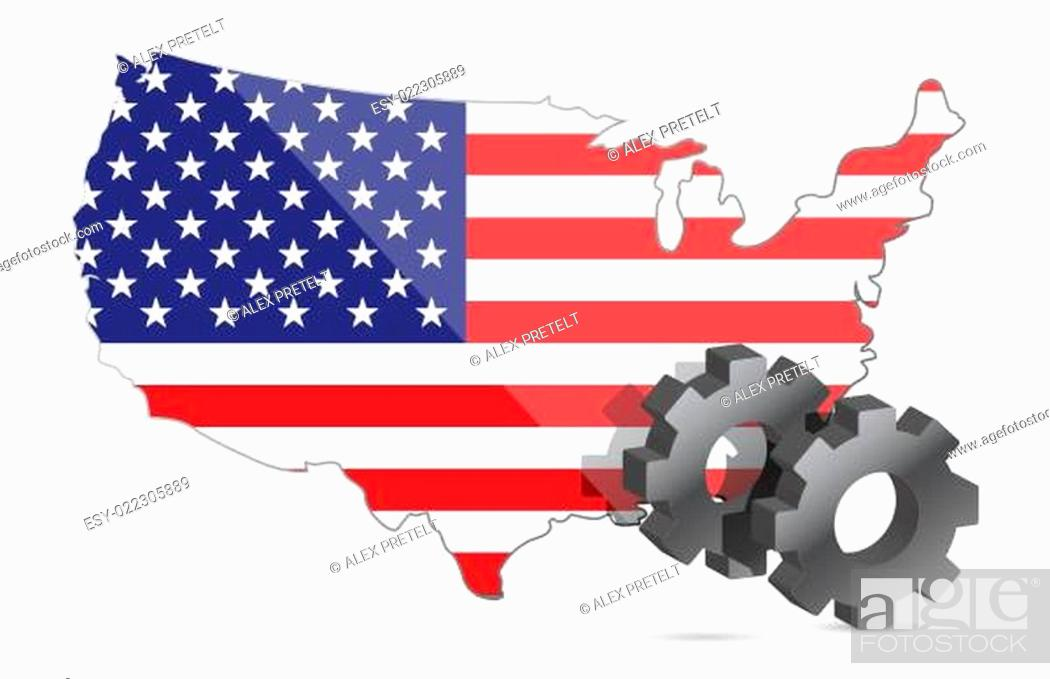 Imagen: Us map flag and gears illustration design.