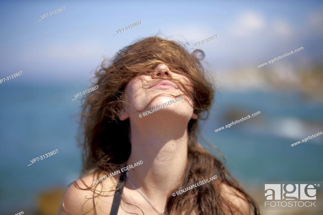 Stock Photo: Woman at beach. Crete, Greece.