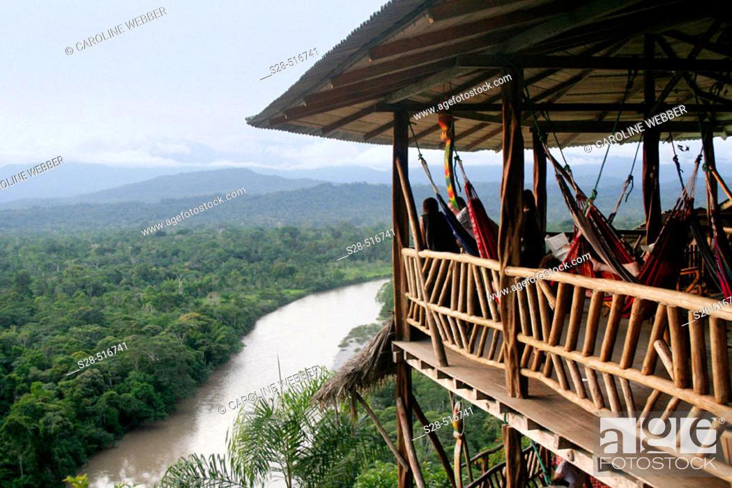 Stock Photo: Amazon Jungle Lodge, Ecuador.