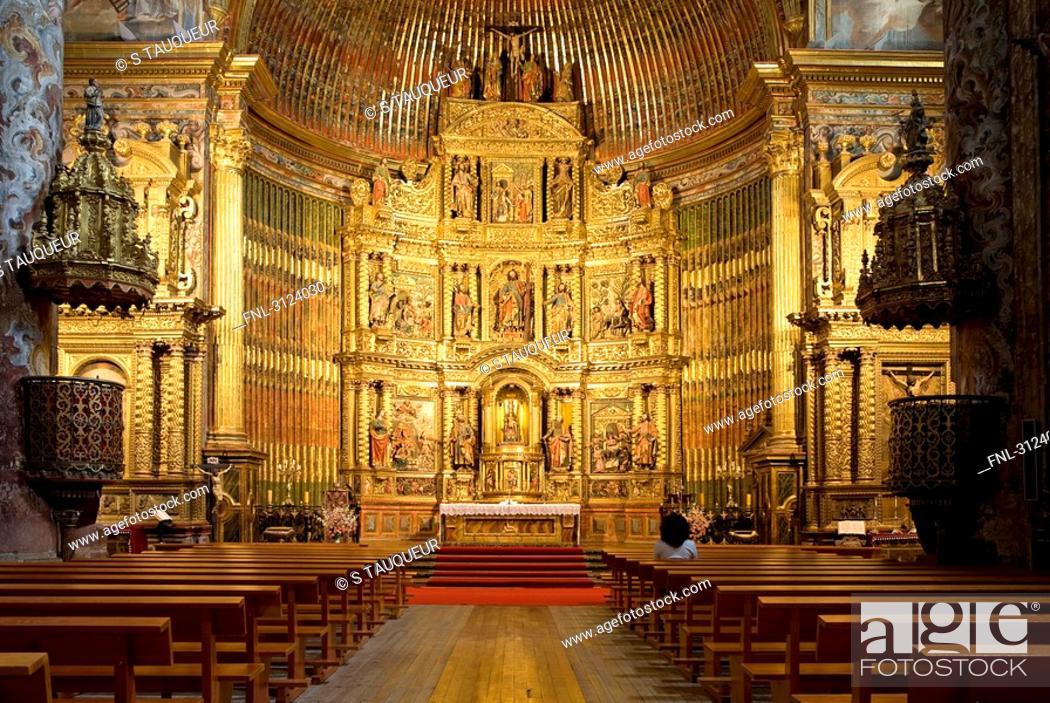 Stock Photo: Interior of a church, looking towards the altar, Elciego, Spain.