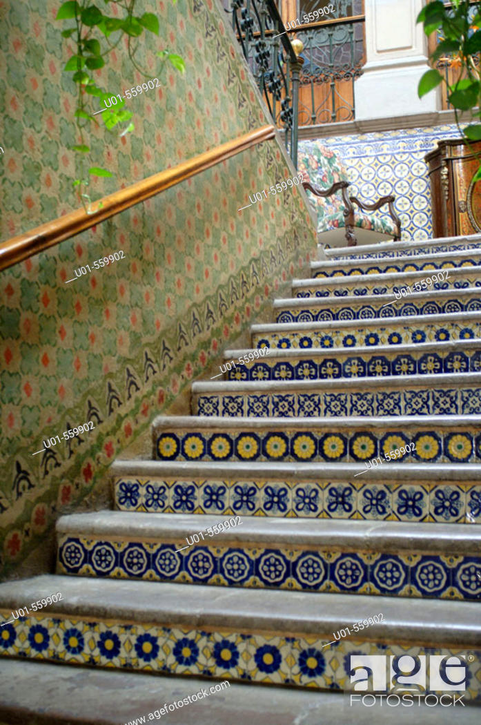 Stock Photo: Stairs in a Colonial Home Queretaro Mexico.