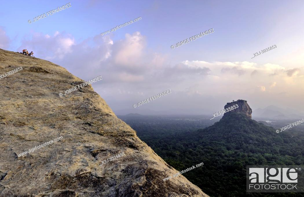 Stock Photo: Views of the Sigiriya lion rock temple from the top of Pirudangala rock. Sri Lanka.